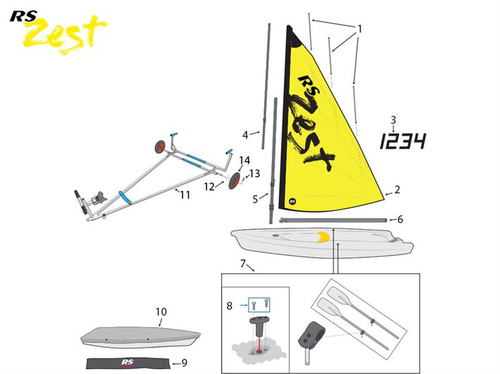 RS Zest Sail Spars Covers
