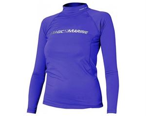 ladies cube rash vest long sleeved purple